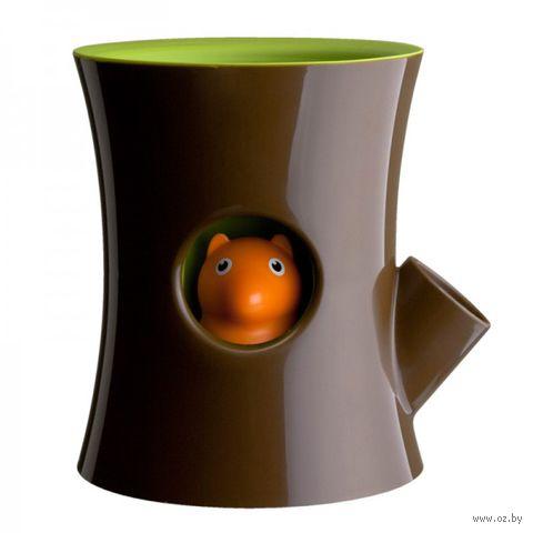"""Горшок для цветов самополивающийся """"Log&Squirrel"""" (коричневый/зеленый)"""