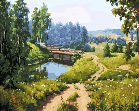 "Картина по номерам ""Сельский пейзаж"" (400х500 мм) — фото, картинка"
