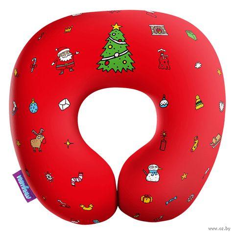 """Подушка под шею """"Любимый праздник"""" (29х29 см; красная) — фото, картинка"""