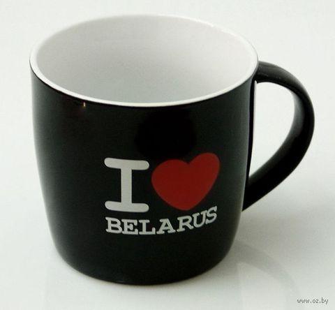 """Кружка керамическая Vitaem """"I LOVE BELARUS"""" (фигурная, черная)"""