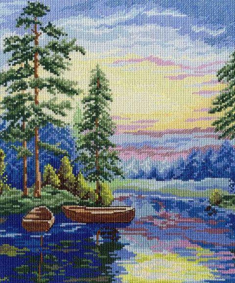 "Вышивка крестом ""Лесное озеро"" (300x250 мм) — фото, картинка"