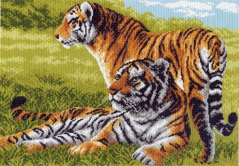 """Канва с нанесенным рисунком """"Бенгальские тигры"""""""