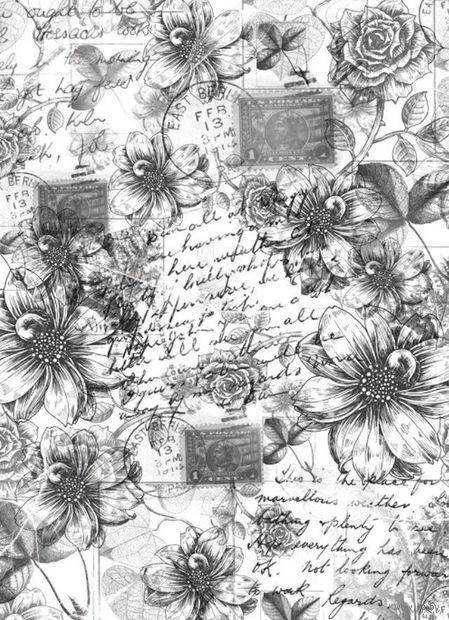 """Бумага для декупажа рисовая """"Винтажные георгины и розы"""" (210х300 мм) — фото, картинка"""
