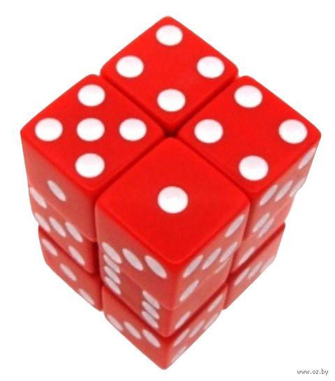 """Набор кубиков D6 """"Опак"""" (16 мм; 12 шт.; красно-белый) — фото, картинка"""