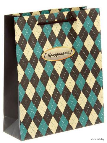 """Пакет бумажный подарочный """"Ромбы"""" (23х8х27 см; продается только в розничных магазинах OZ) — фото, картинка"""