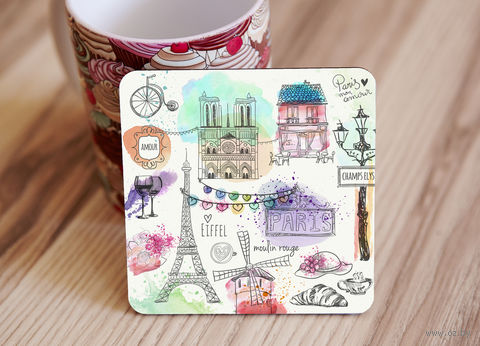 "Подставка под кружку ""Paris"" (арт. 23) — фото, картинка"
