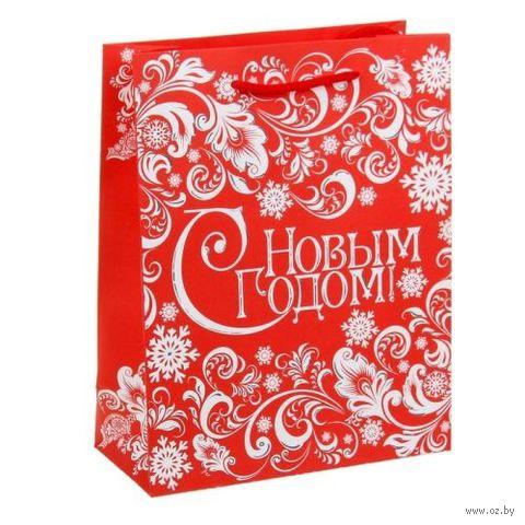 "Пакет бумажный подарочный ""Новогодний узор"" (18х23х8 см; арт. 10908762) — фото, картинка"