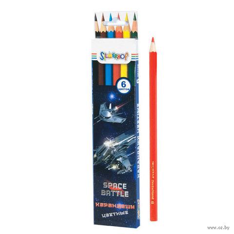 """Набор карандашей цветных """"Space Battle"""" (6 цветов) — фото, картинка"""