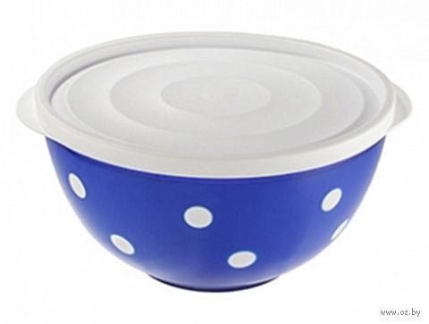 """Салатник двухцветный с крышкой """"Marusya"""" (1,4 л; синий полупрозрачный) — фото, картинка"""