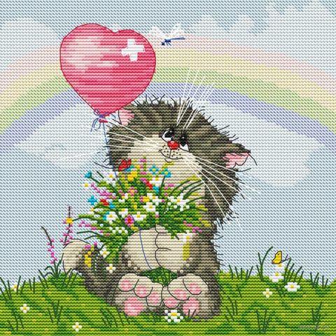 "Вышивка крестом ""Кот с букетом"" (200х200 мм) — фото, картинка"