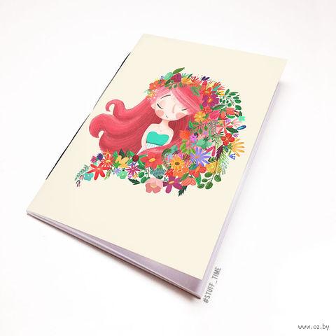 """Блокнот белый """"Девушка с цветами"""" А6 (939)"""