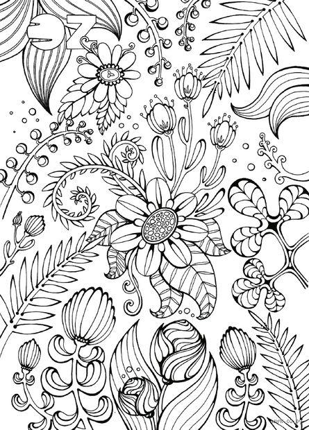 """Открытка-раскраска """"Цветы"""""""