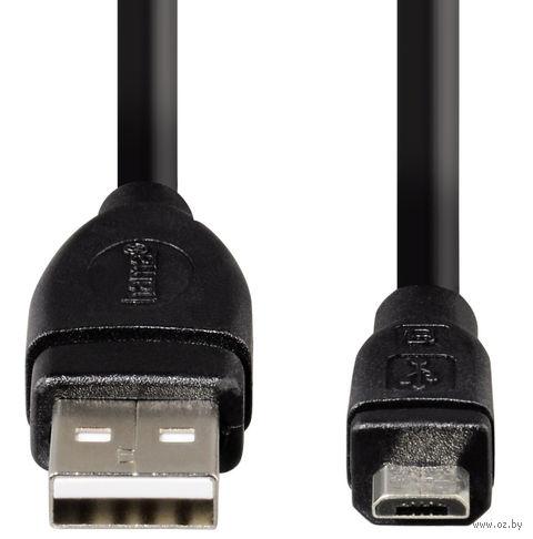 Кабель Hama H-54589 USB 2.0 A-micro B (m-m) 3.0 м экранированный 1зв черный (54589) — фото, картинка