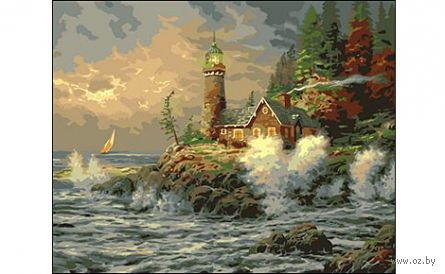 "Картина по номерам ""Маяк и бушующее море"" (400x500 мм) — фото, картинка"