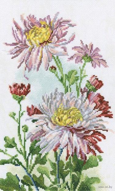 """Вышивка крестом """"Розовые хризантемы"""""""