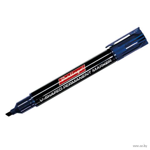 Маркер перманентный клиновидный (синий)