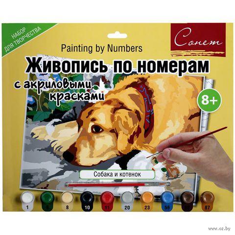 "Картина по номерам ""Собака и котенок"" (300х420 мм) — фото, картинка"