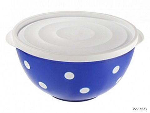 """Салатник двухцветный с крышкой """"Marusya"""" (2 л; синий полупрозрачный) — фото, картинка"""