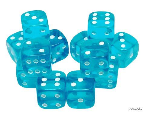 "Набор кубиков D6 ""Прозрачный"" (12 мм; 12 шт.; аква) — фото, картинка"