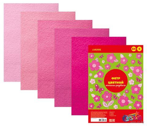 "Набор фетра ""Оттенки розового"" (А4; 5 листов) — фото, картинка"