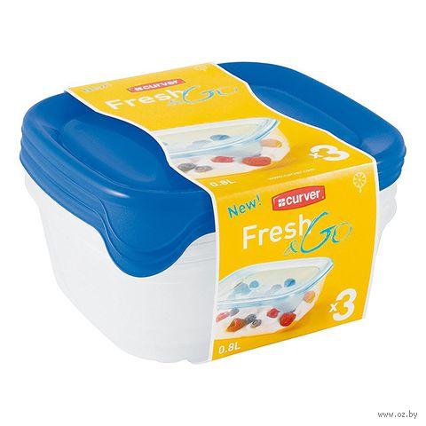 """Контейнер пластмассовый """"Fresh&Go"""" (3 шт.; 0,8 л; синий)"""