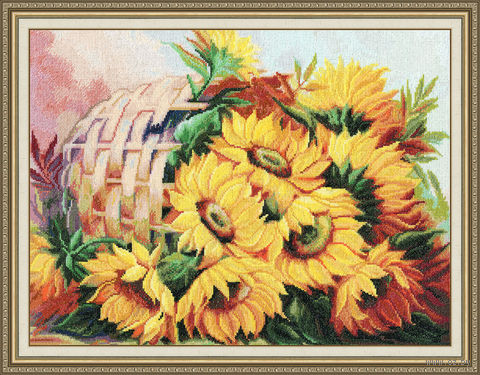"Вышивка крестом ""Цветы солнца №2"" (314х413 мм) — фото, картинка"