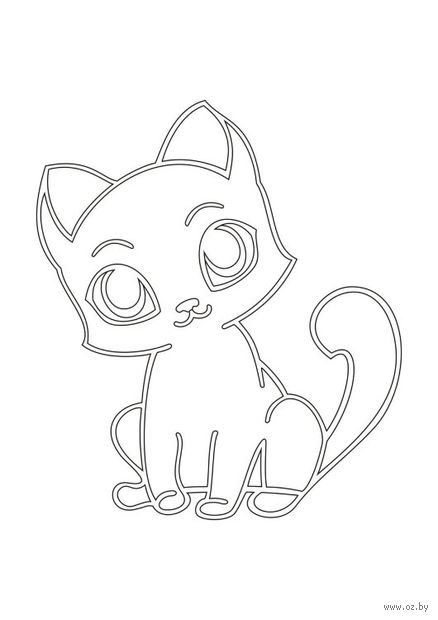 """Трафарет для рисования песком """"Кот с большими глазами"""" (А4)"""