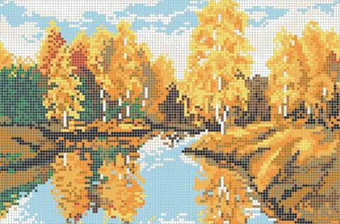 "Вышивка бисером ""Осеннее озеро"" (180х270 мм) — фото, картинка"