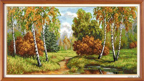 "Вышивка крестом ""Пушистая осень"" (540x280 мм) — фото, картинка"