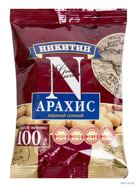 "Арахис жареный ""Никитин"" (100 г) — фото, картинка"