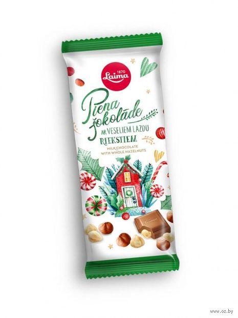 """Шоколад молочный """"Laima. С цельным лесным орехом"""" (100 г) — фото, картинка"""