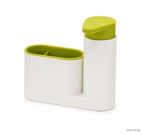 """Органайзер для раковины с дозатором для мыла """"SinkBase"""" (бело-зеленый)"""