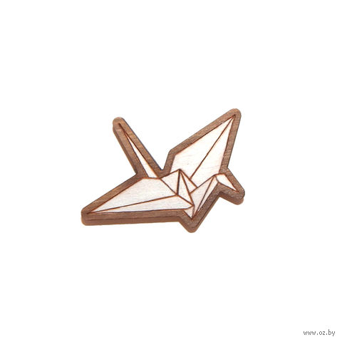 """Значок деревянный """"Оригами. Журавль"""" (белый)"""