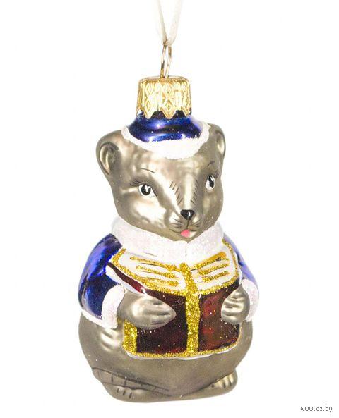 """Ёлочная игрушка """"Мышь с книгой"""" (арт. Ф-78) — фото, картинка"""