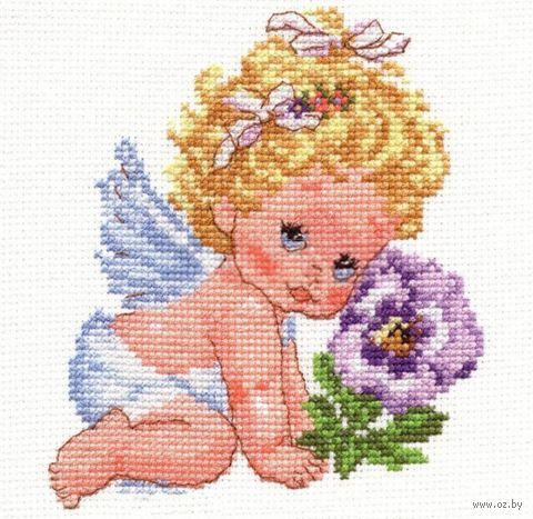 "Вышивка крестом ""Ангелок счастья"" (120х140 мм) — фото, картинка"