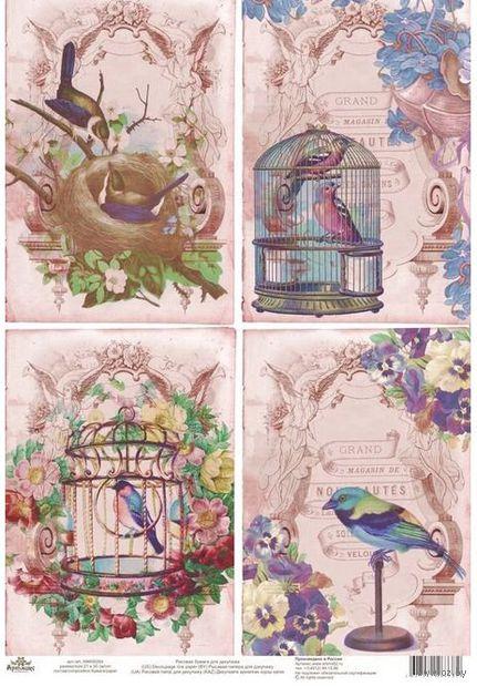 """Бумага для декупажа рисовая """"Птички в клетке на розовом фоне"""" (210х300 мм)"""
