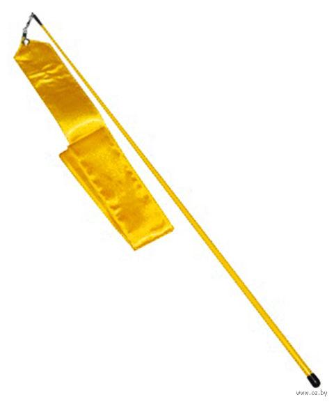 Лента для художественной гимнастики АВ228 (жёлтая) — фото, картинка