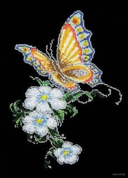 "Вышивка крестом ""Бабочка на цветке"" (200x280 мм) — фото, картинка"