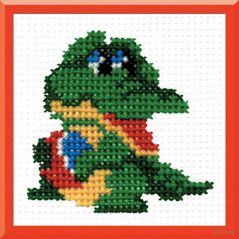 "Вышивка крестом ""Крокодил"" (70x80 мм) — фото, картинка"