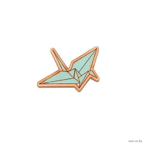 """Значок деревянный """"Оригами. Журавль"""" (мятный)"""