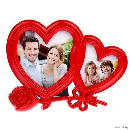 """Рамка пластмассовая """"Сердце с розой"""" на 2 фото (6х6 см, 15х15 см; арт. 10989640) — фото, картинка"""