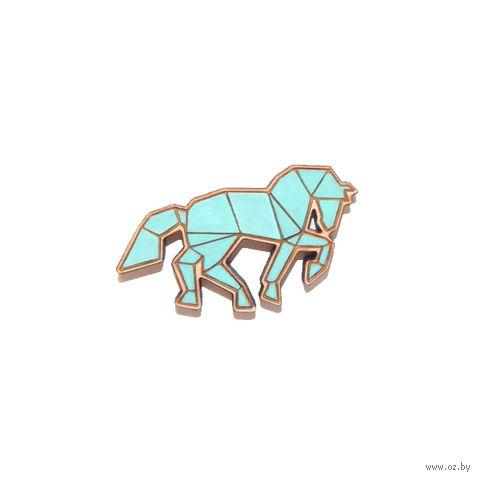 """Значок деревянный """"Оригами. Конь"""" (мятный)"""
