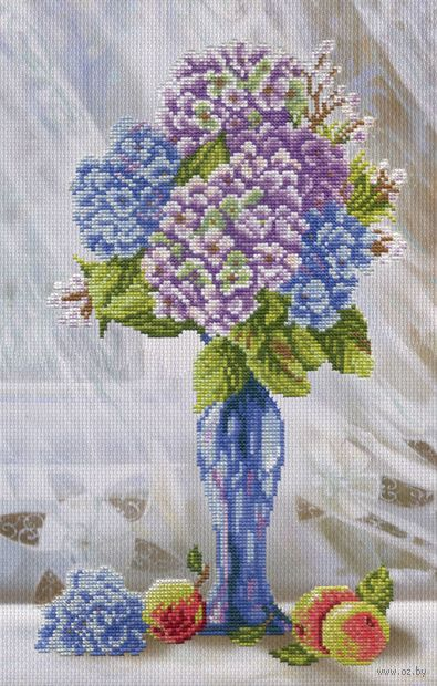 "Вышивка крестом ""Гортензия на окне"" (350х200 мм) — фото, картинка"