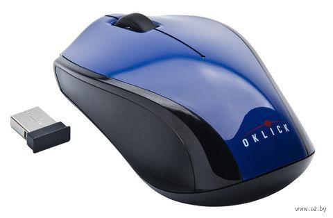 Беспроводная оптическая мышь OKLICK 345MW (Black/Blue) — фото, картинка