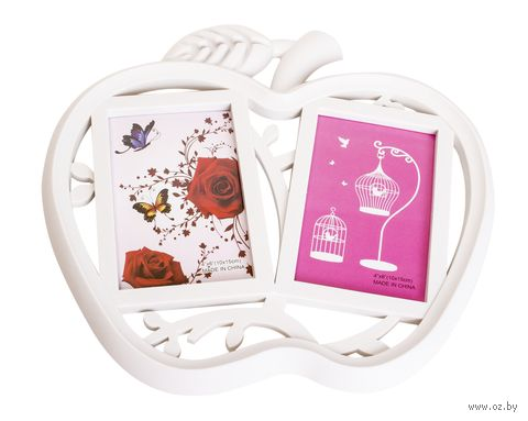 Рамка для фото пластмассовая на 2 фото ''Яблоко'' (30х28 см)