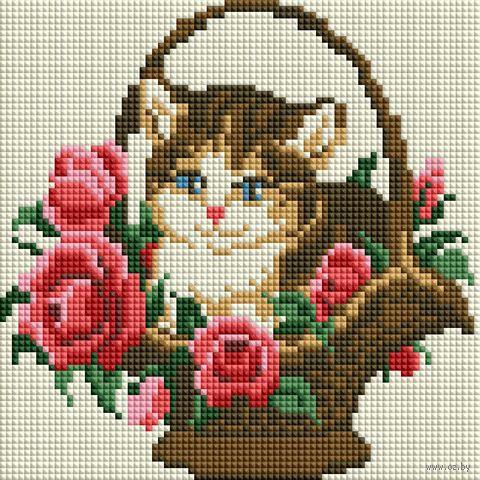 "Алмазная вышивка-мозаика ""Котёнок в корзинке"" (200х200 мм) — фото, картинка"