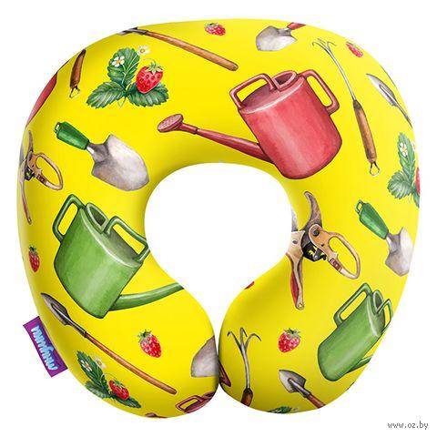 """Подушка под шею """"Сад и огород. Большие предметы"""" (29х29 см; жёлтая) — фото, картинка"""
