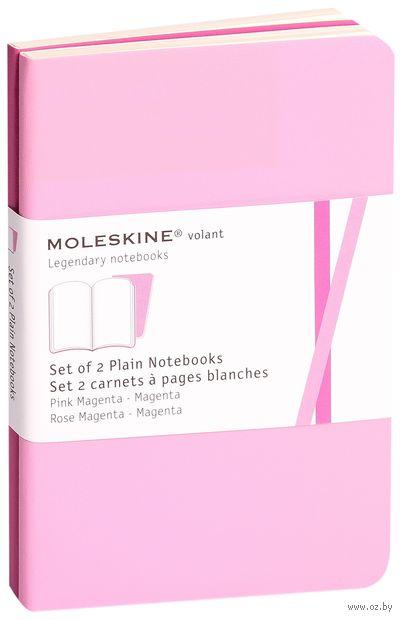 """Записная книжка Молескин """"Volant"""" нелинованная (карманная; мягкая розовая обложка; 2 штуки)"""