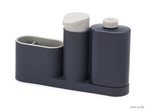 """Органайзер для раковины с дозатором для мыла и бутылочкой """"SinkBase Plus"""" (серый)"""