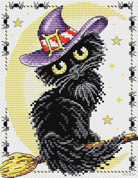 """Вышивка крестом """"Очарование черной кошки"""" (180х140 мм) — фото, картинка"""